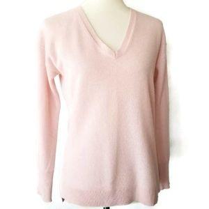Halogen pink cashmere v neck pullover sweater